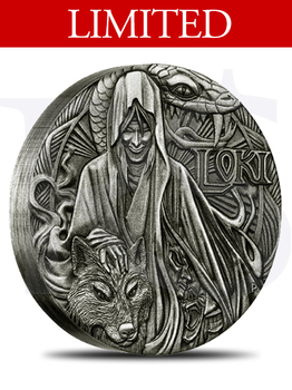 2016 Perth Mint Norse Gods Loki Rimless Antiqued 2 oz Silver Coin